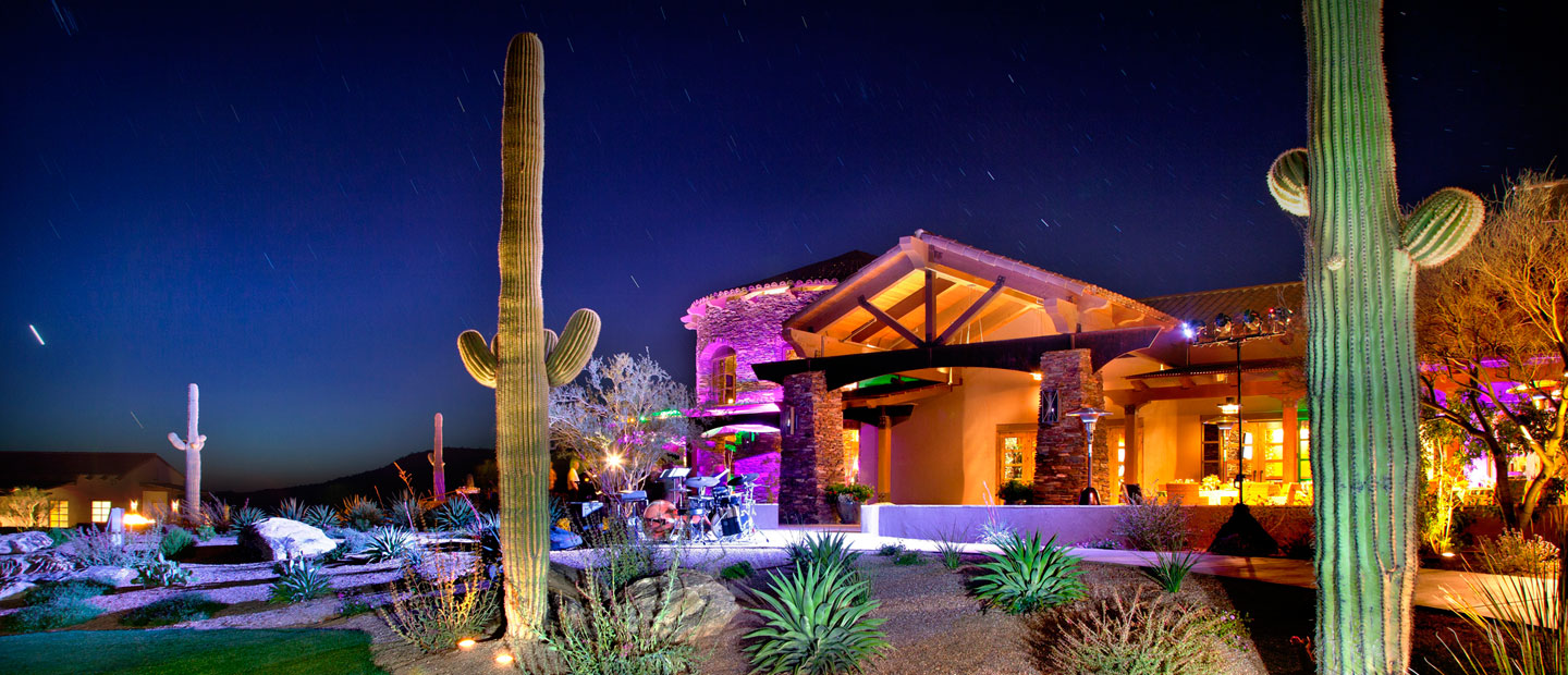 Lights illuminate the stunning desert nightlife